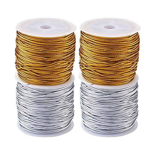 Cheriswelry 4 rollos de cuerda elástica metálica de 1 mm para envolver regalos de Navidad, oro y plata