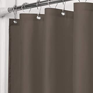 VCVCOO Water Repellent 36 x 72 inch Fabric 90G/GSM Shower Curtain or Liner, Heavyweight Brown Liner Polyester Bath Curtains Washable