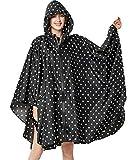Poncho impermeable para mujer, con capucha, ligero y reutilizable Negro Lunares negros. Talla única
