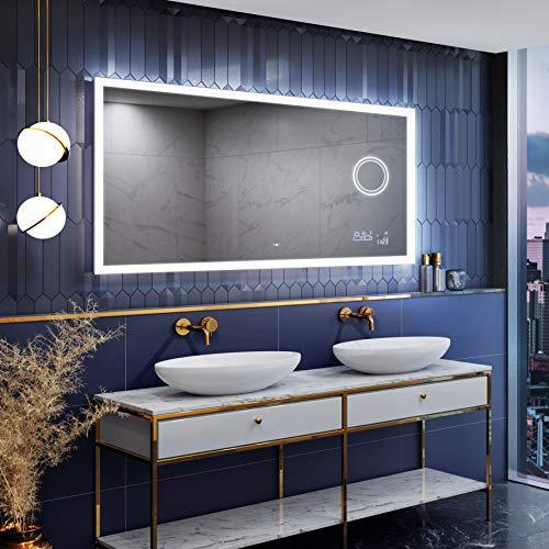 Artforma Badspiegel 100x60 cm mit LED Beleuchtung und Abdeckung (Slimline)- Wählen Sie Zubehör - Individuell Nach Maß - Beleuchtet Wandspiegel Lichtspiegel Badezimmerspiegel - LED Farbe zu Wählen