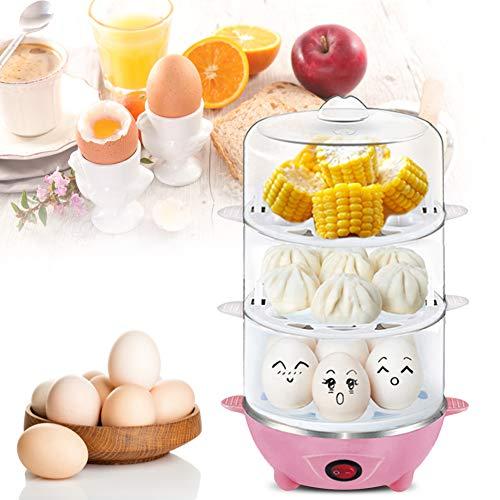 Hervidor de huevos eléctrico, vaporizador de huevos para el hogar, para la cocina casera, huevos al vapor, natillas de huevo, arroz, desayuno de maíz(Three layers of pink, pink)