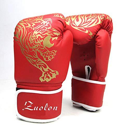 WOLIGEQ Boxhandschuhe Muay Thai PU Leder Boxhandschuhe FÜR MÄNNER DAMENTRAINING IN MMA Grant Box Handschuhen 3 Farben, Rot
