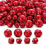 250 Piezas Cascabeles con Recorte de Estrella de Metal y Campanas Artesanales para Decoraciones de Fiesta de Hogar Decoraciones Diarias de Manualidades Campanas DIY (Rojo)