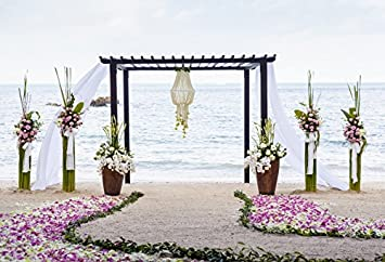 GESEN 10X7ft Seaside Backdrop Summer Seaside Sea Beach Wooden Parasols Backdrop Wedding or Theme Party Photography Background GORGE128