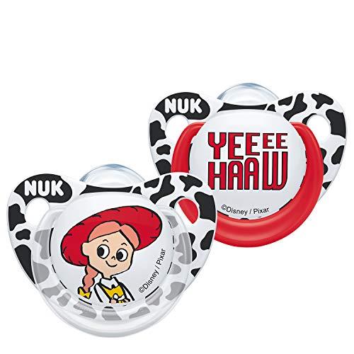 NUK Toy Story Silikon-Schnuller, 6-18 Monate, Silikon, BPA-frei, Receive Jessie or Buzz (Design variiert), 2 Stück