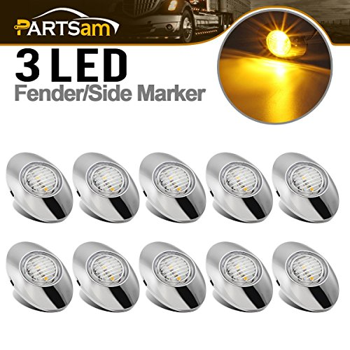 Partsam 10Pcs 3x2 Clear Amber Mini Oval Side Marker Clearance Lights 3LED Chrome Replacement for Peterbilt 579 386 389 Drop Visor Front Breather Side Cab Panel Light Fender Guard