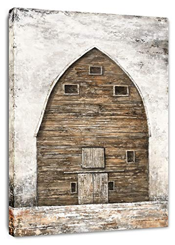 Yihui Art Farmhouse Canvas Wall Art Barn Painting Pictures Rustic Wall Decor For Living Kids Bed Room (Multi D, 28Wx20L)