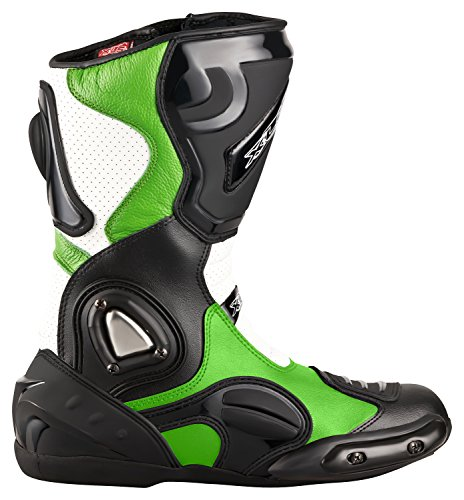 XLS Motorradstiefel hochwertige Racing Boots Touringstiefel Lederstiefel schwarz grün (41)