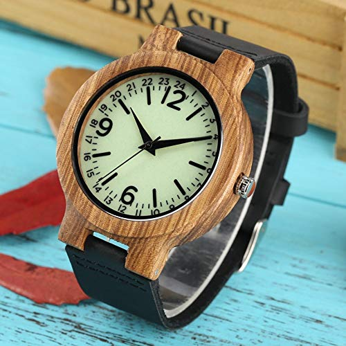 KUELXV Reloj de Pulsera de Madera Esfera Verde Claro Reloj de Madera para Hombre Escalas únicas Reloj de Hombre de Cuarzo Reloj de Pulsera de bambú Genuino Ligero Simple