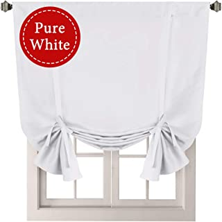 H.VERSAILTEX Pure White Curtain Thermal Insulated Tie Up Window Shade Light Blocking Curtains for Bathroom, Rod Pocket Panel- 42