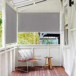 LeMeiZhiJia - Estor para exterior, toldo vertical, para balcón, estor de privacidad, metal, gris, 100*140cm