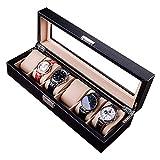Caja de Reloj de Cuero 6 Caja de exhibición de Reloj de Fibra de Carbono con Tapa de Vidrio Organizador de Reloj con Cerradura y Almohadas Negro