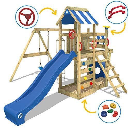 Spielturm Klettergerüst SeaFlyer mit Schaukel & roter Rutsche - 3