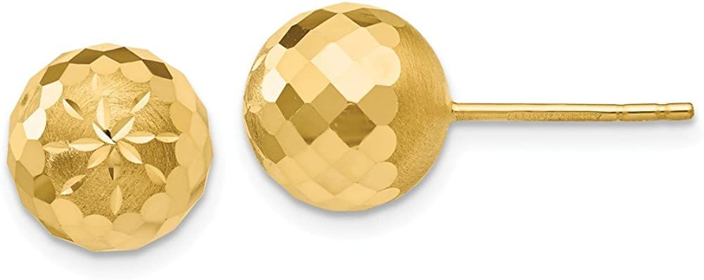 14k Yellow Gold 9mm Diamond Cut Mirror Ball Post Earrings (9mm x 9mm)