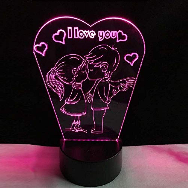 Romantische Ich Liebe Dich 3D Led Lampe Rgb-Glühlampe Nachtlicht Junge Kuss Mädchen Tisch Schlafzimmer Neben Dekor Freundin Liebhaber Geschenk Requisiten B07KT75XR6  | Großer Räumungsverkauf