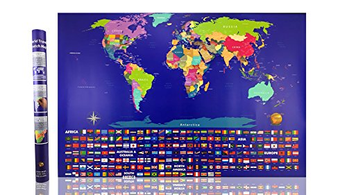 Illuminate Atlas - #1 Scratch Off World Map - Perfect for Traveler Men and Women - Best 23x32 Large Poster Wall Map Atlas - US States and Adventure Travel Flags - Limited Edition