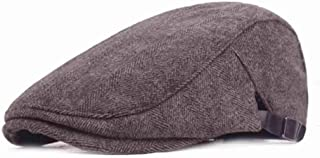 JU+ Men's Cotton Flat Cap Ivy Cabbie Driving Hat Hunting Newsboy Cap Coffee