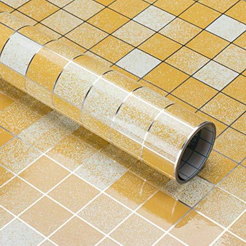 adhesivo para muebles marr/ón moderno amarillo claro papel pintado para habitaci/ón tela de lino 40 x 300 cm Papel pintado adhesivo amarillo y marr/ón claro pared armario cristal autoadhesivo