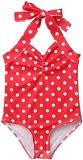Newborn Baby Girls Polka Dot Swimsuit Toddler Girls One Piece Swimwear Trikini Halter Swimming Bikini Bathing Suits Beachwear