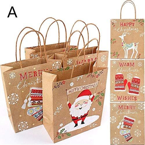 Surenhap Bolsas de Regalo Navidad Diseño asa Marrón Papel Kraft para Regalos Dulces para Chocolates Dulces y...