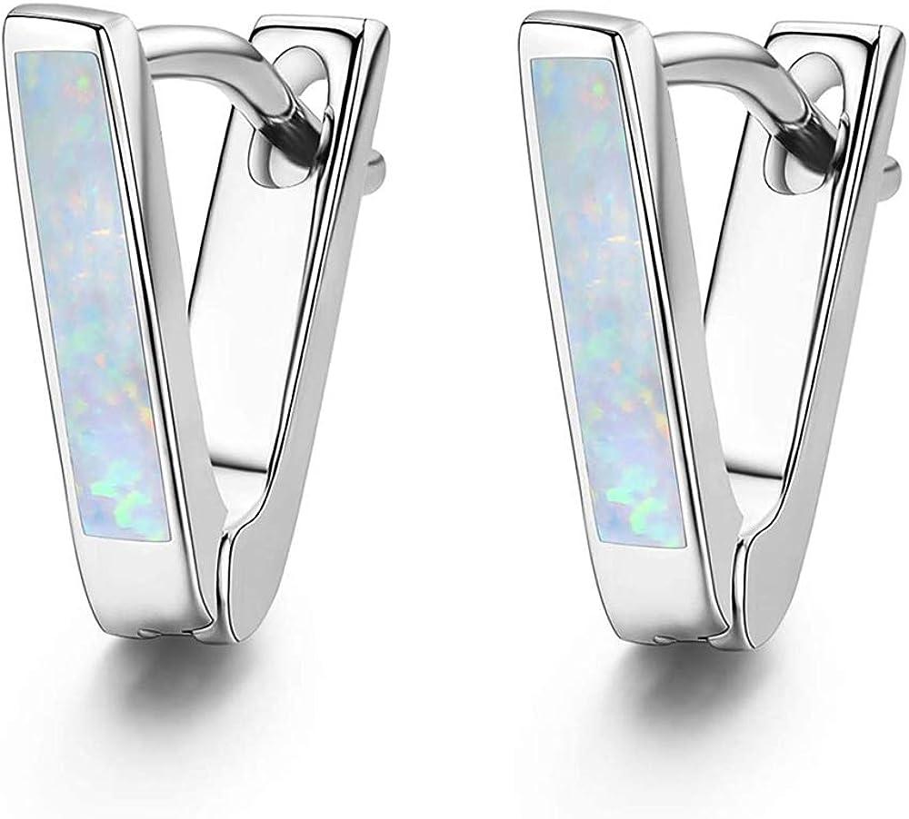 CiNily Small Hoop Earrings for Women Girls 14K Gold Plated Triangle Mini Hoop Earrings Dainty Opal Jewelry Gifts