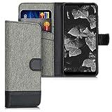 kwmobile Wallet Hülle kompatibel mit Wiko View 3 - Hülle mit Ständer - Handyhülle Kartenfächer Grau Schwarz