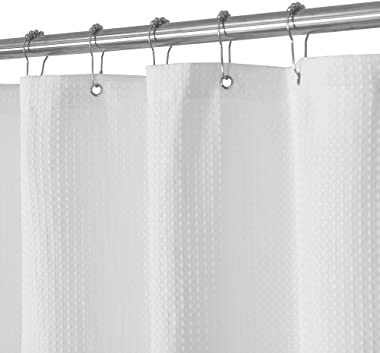 Waffle Weave Fabric Shower Curtain 230 GSM Heavy Duty, Spa, Hotel Luxury, Water Repellent, White Pique Pattern, 71 x 72 Inches Decorative Bathroom Curtain