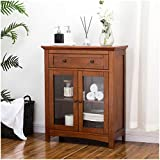 Glitzhome 32 Inch Wooden Free Standing Floor Storage Cabinet Accent Cabinet Display with Glass Double Doors and Drawer for Bathroom, Living Room, Bedroom, Kitchen