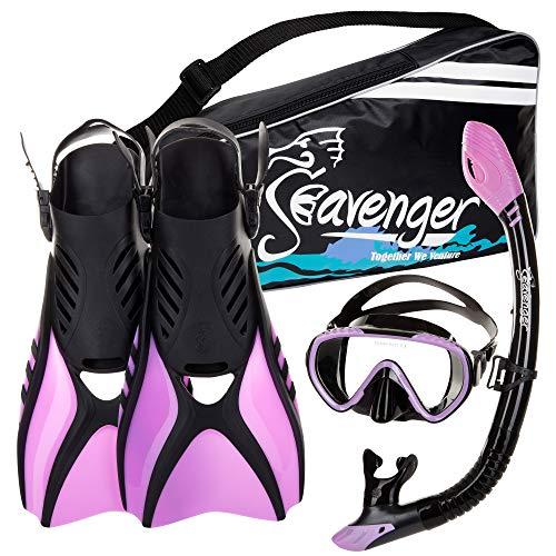 Seavenger Diving Snorkel Set  Black Silicon/Purple  L