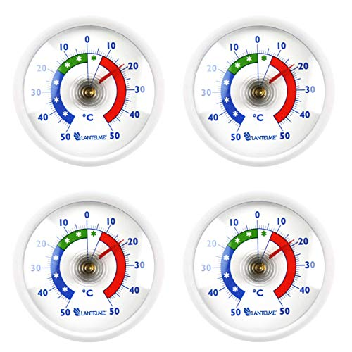 Lantelme Kühlschrankthermometer 4 Stück Set Deutsche Herstellung Analog Kühlschrank Klebe Thermometer Rund weiß 7015