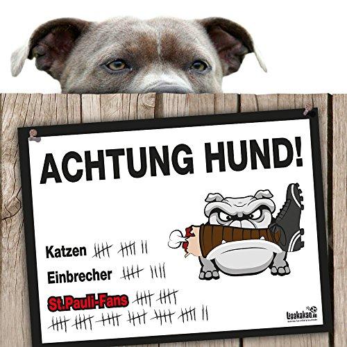 Hunde-Warnschild Schutz vor St.Pauli-Fans | Hamburg SV-, Bremen- & alle Fußball-Fans, Dieser Revier-Markierer schützt Haus & Hof vor St. Pauli-Fans | Achtung Vorsicht Hund Bissig
