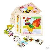 MagiDeal 2X 9PCS Puzzle Jigsaw Preescolar Juguete de Madera Regalo para Niños Pequeños Niños Niños