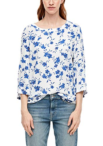 s.Oliver RED Label Damen Crêpe-Bluse mit Allovermuster Creme AOP 40