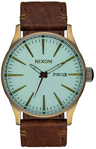 Nixon Mens The Sentry Leather Watch - Green Crystal/Brown