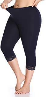 Kotii Women's Plus Size Lace Trim Capri Leggings Stretch Cropped Leggings Summer Tights Pants