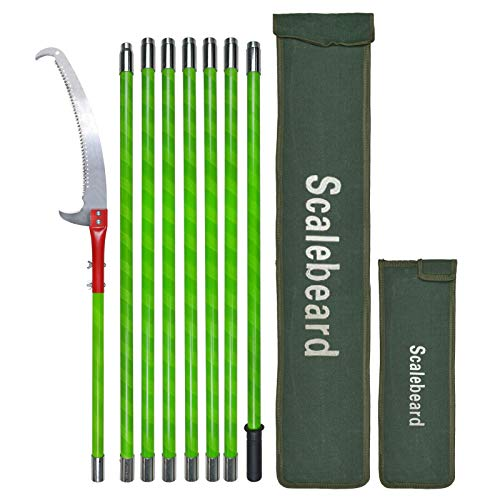 Scalebeard 26 Foot Tree Trimmer Pole Manual Pruner Cutter Set Extension Cut...