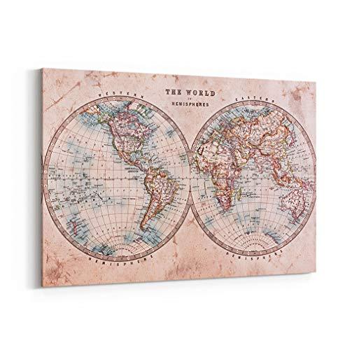 Grand Format Impression sur Toile Imprimée Murale Hemisphere Vintage World Map Illustration Globe Tarvel Universe Carte du Monde tendue sur Cadre Salon, Chambre ou Bureau Dimension 30cm x 40cm