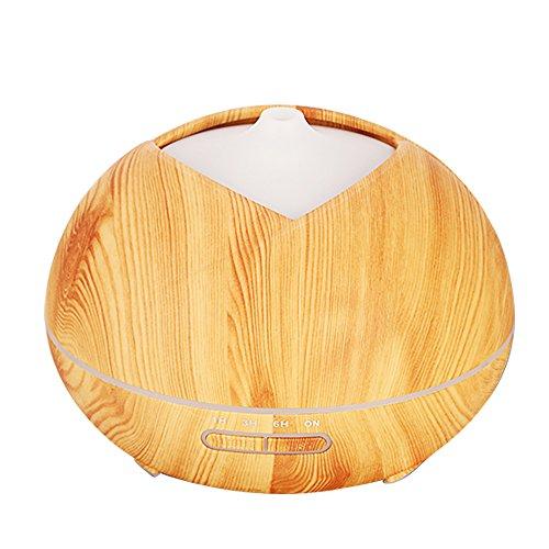 400 ml difusor de aceite esencial humidificador con grano de madera 7 color cambiante luces de noche sin agua apagado automático