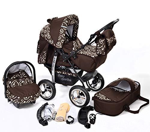 Kamil - Landau pour bébé + Siège Auto - Poussette - Système 3en1, incluant sac à langer et protection pluie et moustique - ROUES NON PIVOTABLES (Système 3en1, bronze)