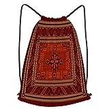 fudin Impermeable Bolsa de Cuerdas Saco de Gimnasio alfombra étnica de lujo vivo oriental vintage Deporte Mochila para Playa Viaje Natación
