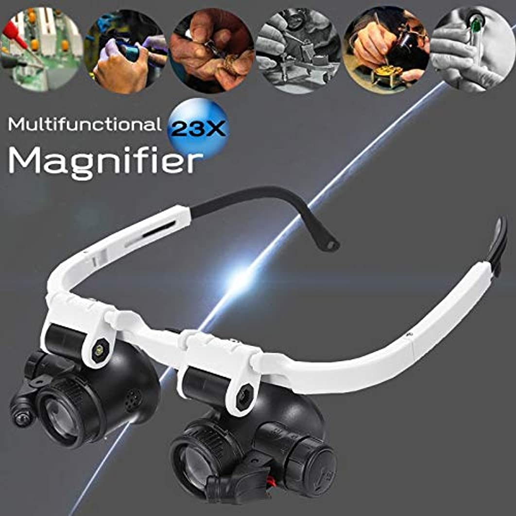 JohnnyBui - Adjustable 23X LED Binocular Magnifier Double Eye Glasses Loupe Lens Jeweler Watch Repair Measurement Kit