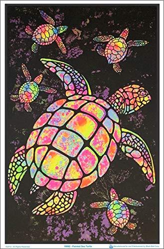 """Painted Sea Turtles Blacklight Poster - Flocked - 23"""" x 35"""""""