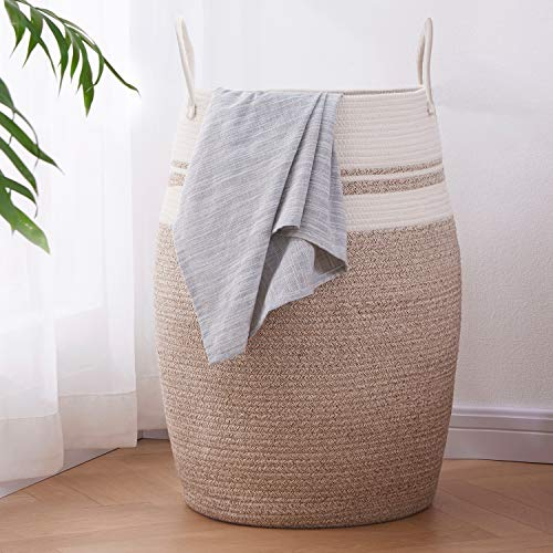 OIAHOMY Laundry Hamper Woven Cotton Rope Large Clothes Hamper 25.6' Height Tall Laundry Basket with Extended Cotton Handles for Storage Clothes Toys in Bedroom, Bathroom, Foldable (Yellow variegated)