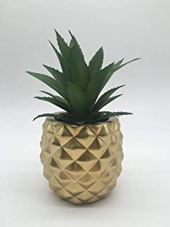 Pineapple Fake Plant Artificial Succulent in Resin Pot for Home Office Decoration (Gold)