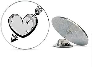 BRK Studio Cute Adorable Gray Cat Heart Emo Style Cartoon Round Metal 0.75