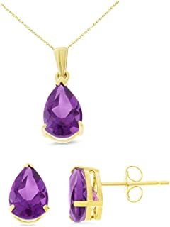 14K Yellow Gold 6 x 8 mm. Pear Genuine Natural Amethyst Earrings + Pendant Set With Square Rolo Chain
