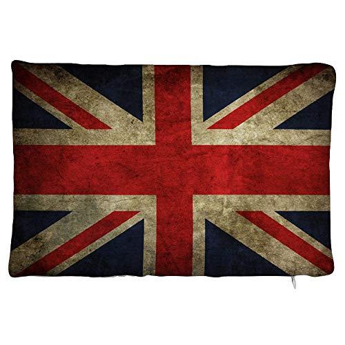 happygoluck1y - Federa rettangolare in velluto con bandiera inglese vintage, 30 x 50 cm, con cerniera, per divano e ragazze