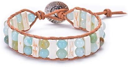 Kjiasiw Boho Leather Chakra Handmade Imperial Jasper Wrap Adjustable Bead Bracelet