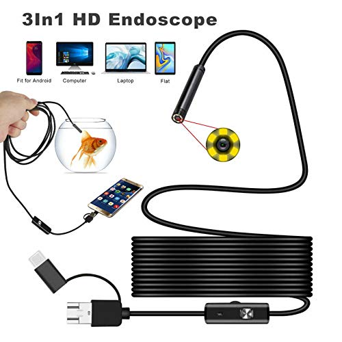 USB Endoscope for Otg Android Phone Computer 5.5 mm Borescope Inspection Snake Camera Waterproof with Micro USB Type C Semi-rigid Cord with 6 LED Lights Compatible with Windows PC MacBook (1M)