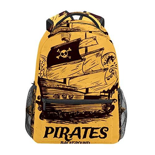 Mochila escolar vintage pirata barco retro casual viaje portátil mochila de lona libro bolsas para mujeres niñas niños estudiantes hombres adultos